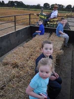 Enjoy a hayride after the Jones Corn Maze